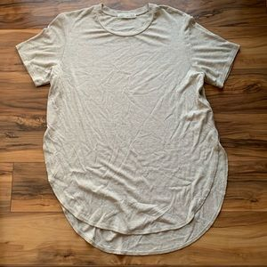 Joah Brown one size tan rounded hem T-shirt OS